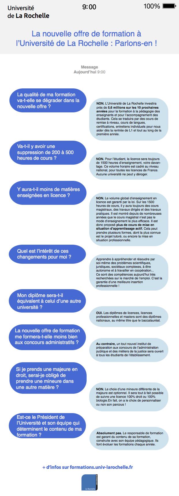 La Nouvelle Offre de Formation de l'Université de La Rochelle en infographie 1