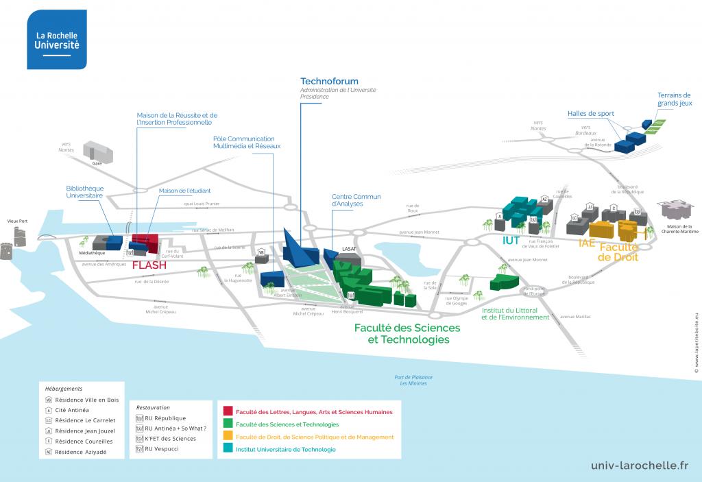 Carte Universite De Bordeaux.Se Reperer Sur Le Campus De L Universite De La Rochelle