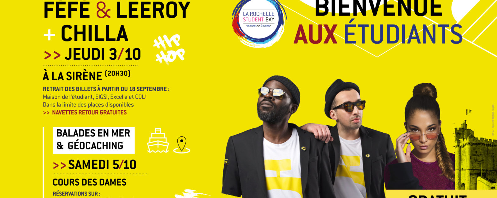 La Rochelle Student BAY : Concert gratuit FÉFÉ + LEEROY + CHILLA 1